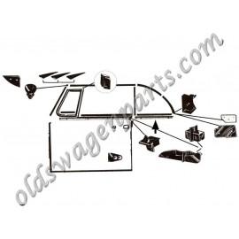 lèche vitre extérieur complet avec baguette chromée avant gauche chromé cab. 65-79