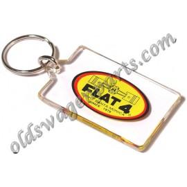 porte-clés FLAT 4 en CUIR noir