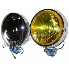 set de 2 phares anti-brouillard diam 4'' chromés 12 volts avec vitre jaune
